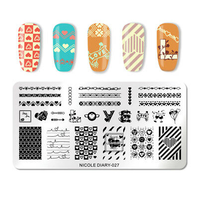 NICOLE DIARY Nail Stamping Plate Rectangle Stamp Image Template Nail Art Tool