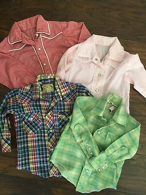 Vintage Kids Western Cowboy Shirts Lot Of Four! Snap Button Plaid Toddler 2 3 4