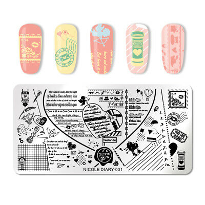 NICOLE DIARY Stamping Plate Valentine Nail Art RectanglePrinting Image Template