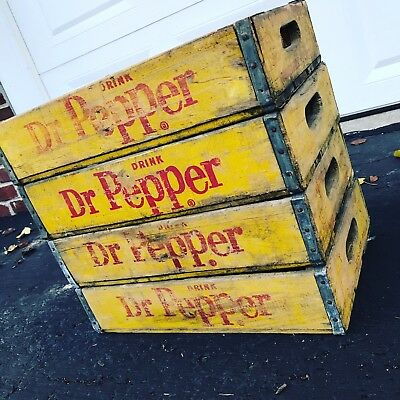 4 Vintage Weathered Faded Dr Pepper Wood Soda Pop Crates Lot
