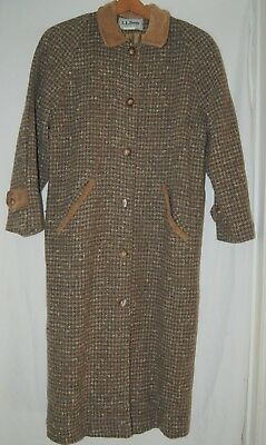 Vintage LL Bean Womens Wool Tweed Trench Winter Coat Jacket Brown Tan Button XL