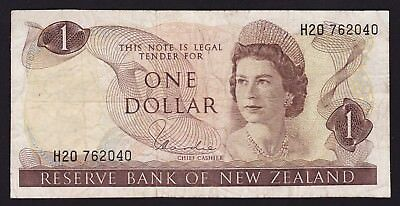 New Zealand $1 One Dollar Banknote 1977-81 H R Hardie Type I P-163d