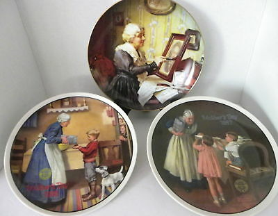 Lot of 3 Norman Rockwell Plates Grandma's Surprise,Pantry Raid, Grandma's Love