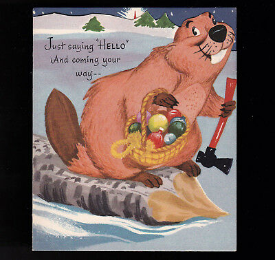 Disney Vintage Die Cut Christmas Card Lady and the Tramp Gibson circa 1950s