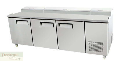 "PIZZA SALAD SANDWICH PREP TABLE 93"" L REFRIGERATED 3 Door Stainless Steel New"