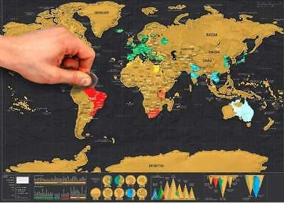 Travel Scratchable World Map with Gold Foil Layer-World Map Poster