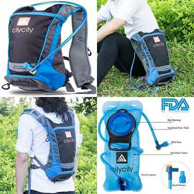 Hydration Backpack W 2L BPA Free Bladder Great For Outdoor Sports Of BLUE Small