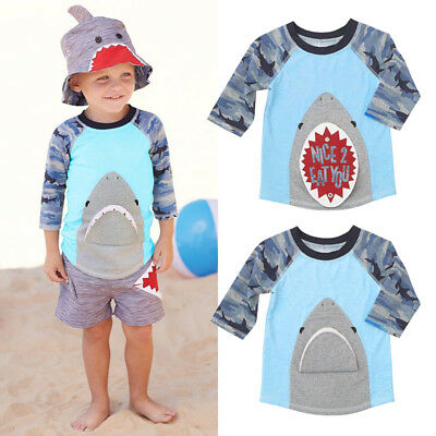 Toddler Kids Boy Pattern Shark Animal Camo Top T-shirt Tees Clothes Size 1-6T