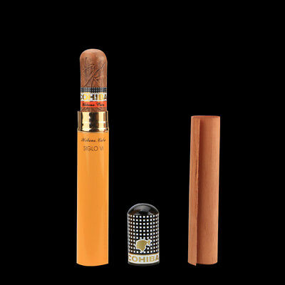 COHIBA Alloy Cigar Jar Tube Humidor Holder Yellow