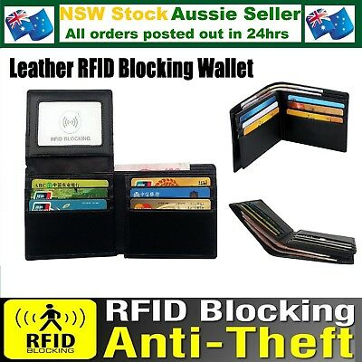 RFID Protected Leather Mans Mens Wallet Anti Skimming Scan Black