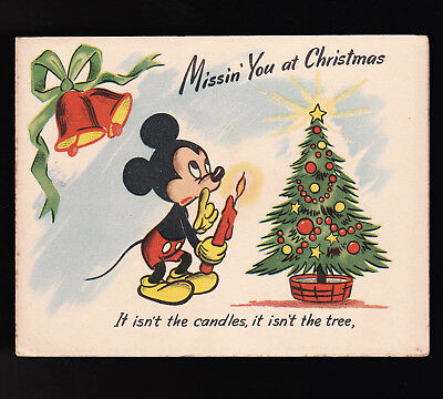 Disney Vintage Christmas Card Mickey Mouse c1940s Missing You theme