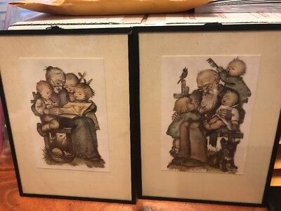"Lot Of 2 Vintage Framed Art - Grandma/Grandpa With Children 6.5""x8.5"" (CT)"