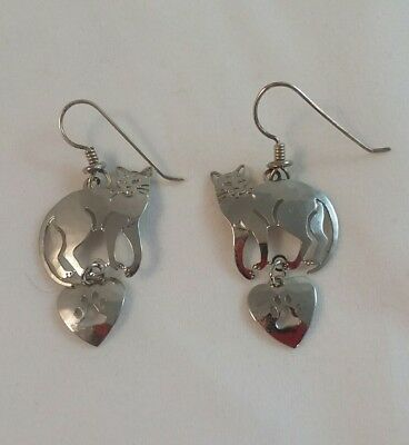 vintage Wild Bryde silver tone cat with heart charm Dangle Earrings