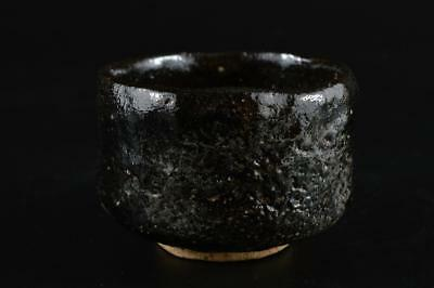 G1247: Japanese Old Raku-ware Black glaze TEA BOWL Green tea tool Tea Ceremony