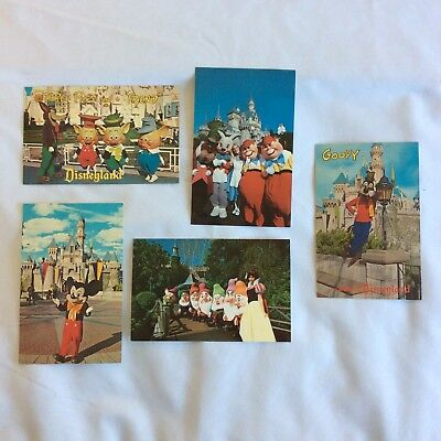 5 Vintage DISNEYLAND Postcards Mickey Castle Twiddle Dee Snow White Goofy 3 Pigs