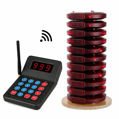 999CH Restaurant Wireless 433.92MHz Paging Queuing System+10xCall Coaster Pagers