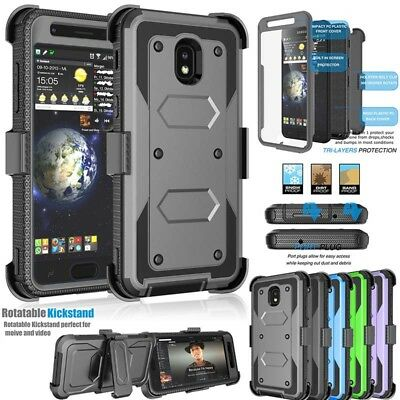 New For Samsung Galaxy J7 2017/2018Shockproof Cover+Tempered Film+Belt Clip Case