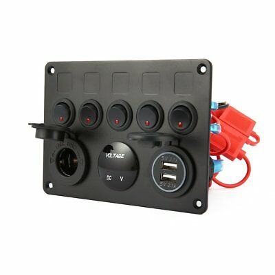 5 Gang ON-OFF Toggle Switch Control Panel USB Charger 12V for Car Marine Boat AU