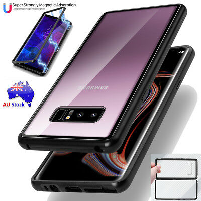 Magnetic Metal Tempered Glass Back Cover Case Fr Samsung Galaxy Note 9 8 S9 Plus
