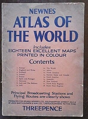 Vintage, Newnes Atlas of the World, 18 Maps in Colour, Produced by John Bartholo