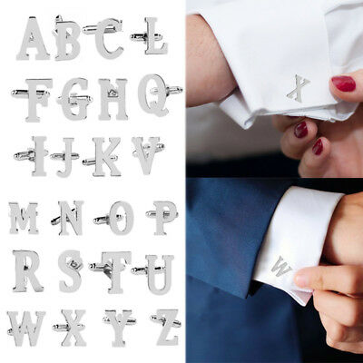 Men Initial letter Silver alphabet cufflink cuff link wedding Formal Business.