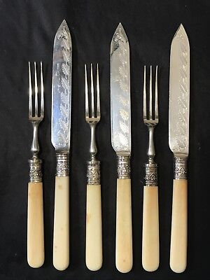 Antique WINGFIELD Silverplate FRUIT KNIFE & FORK Set, Etching & Faux Bone Handle