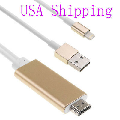 Gold AV HDTV HDMI CABLE TRANSFER VIDEO MUSIC AUDIO FROM Iphone 5 5S  ONLY TO TV