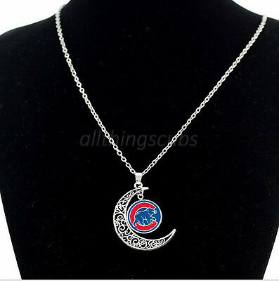 Chicago Cubs Bear Logo Charm Pendant Silver Glass Crescent Moon Necklace Jewelry
