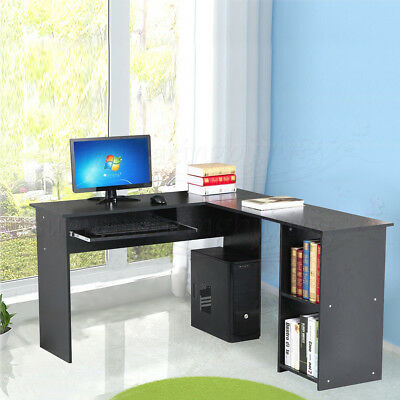 Wood  L-Shaped Corner Computer Desk Home Office Workstation Table with Bookshlef