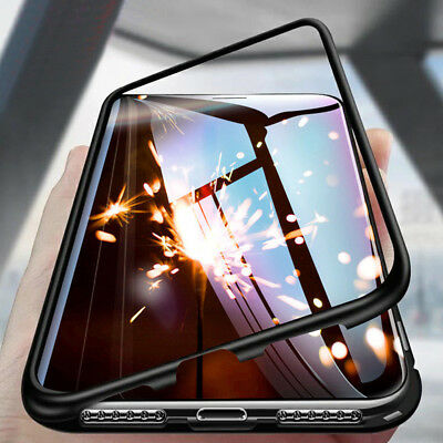 For iPhone X 6 7 8 Plus Magnetic Adsorption Metal Flip Tempered Glass Case-Cover