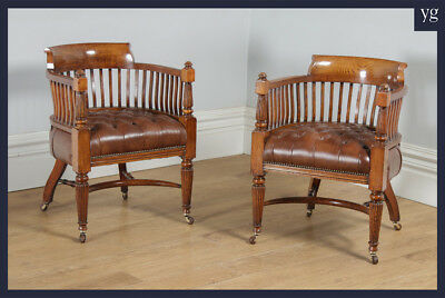 Antique Pair Victorian Oak & Brown Leather Office Desk Library Club Arm Chairs