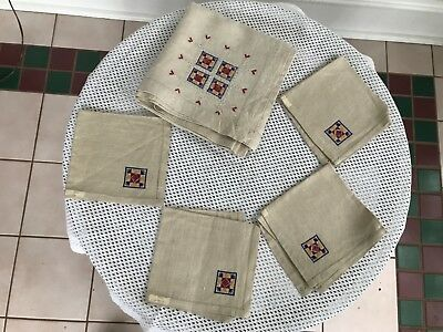 Vintage Hand-Embroidered Linen Card Table Tablecloth w/ 4 Matching Napkins, USSR