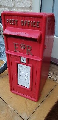Royal mail ER II Pillar Box Red Cast iron with keys