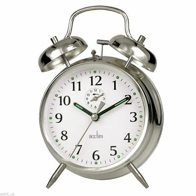 Acctim Traditional Classic Saxon Wind Up Double Bell Alarm Clock - Chrome
