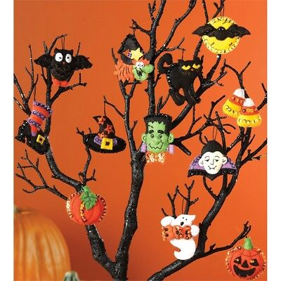 "Bucilla Felt Ornaments Applique Kit 3""x2"" Set Of 12-halloween"