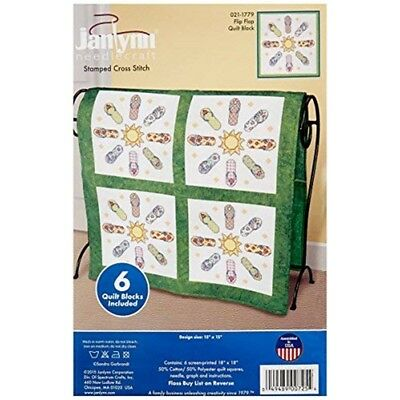 "Janlynn Stamped Cross Stitch Quilt Blocks 15""x15"" 6/pkg-flip Flop"