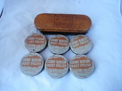 VINTAGE REMPLOY1955  SHOE BRUSH and SIX TINS CHERRY BOSSOM SHOE POLISH(BROWN)
