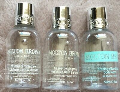 3 *EMPTY* Molton Brown Bottles Small 50ml size Bath Shower & Body Wash