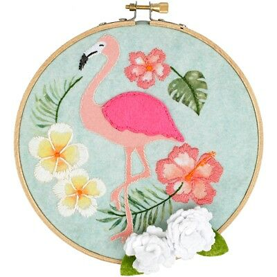 "Fabric Editions Needle Creations Felt Hoop Kits 6""-flamingo W/flowers"
