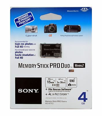 Sony 4GB Memory Stick PRO Duo Mark 2 for Cyber-shot, PSP & Alpha DLSRs. MS-MT4G.