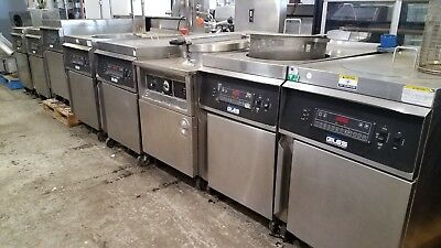 GILES GEF-720 70lbs. ROUND KETTLE FRYER with BASKET LIFT and FILTER SYSTEM