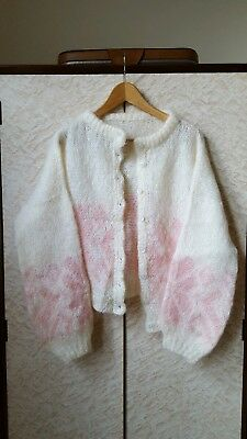 Vintage Cream Soft Pink Long Sleeve Hand Knitted Cardigan with Pearly Buttons