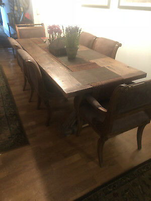 antique dining table and 6 chairs, made of reclaimed wood