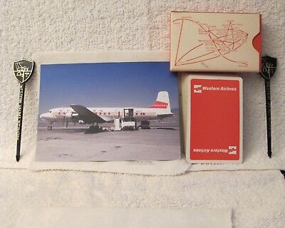 Western Airlines Post Card (DC6), Playing Cards and 2 Stir Rods