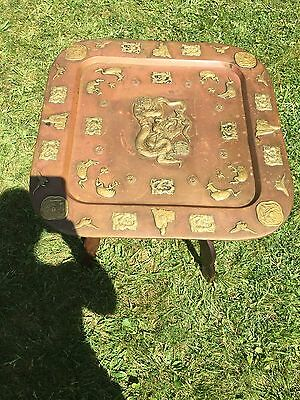 Antique 19th table with dragons , wooden legs -folding