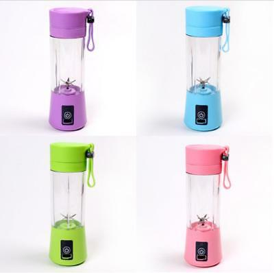 Portable Blender Blades USB Juicer Cup Fruit Mixing Rechargeable Bottle 400ml