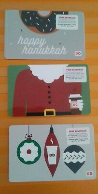 3 DD, Dunkin' Donuts Gift Cards 2016 Christmas Ornaments, Suit & Hanukkah,  Mint