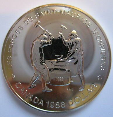 1988 Canada Saint Maurice Ironworks Brilliant Uncirculated Silver Dollar Coin