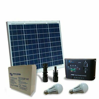 Solarbeleuchtung Kit LED 50W 12V Innen Photovoltaik AGM Batterie 25Ah