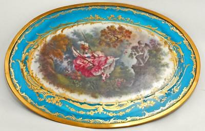 SUPERB LARGE 19th C SEVRES PLAQUE FROM ASPREY'S BLOTTER Fragonard's 'The Swing'